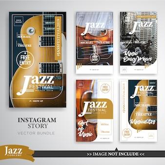 Jazz oder musik festival instagram geschichten banner vorlage