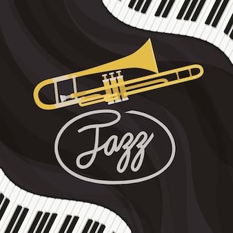 Jazz-tagsplakat mit klaviertastatur und trompete