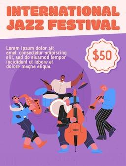 Jazzband, die musik beim festival, konzert oder auf der bühne spielt.