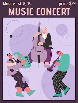 Jazzband, die musik beim festival, konzert oder auf der bühne spielt. Premium Vektoren