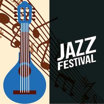 Jazzfestival-rahmenzeichen blaues banjo spielen musik