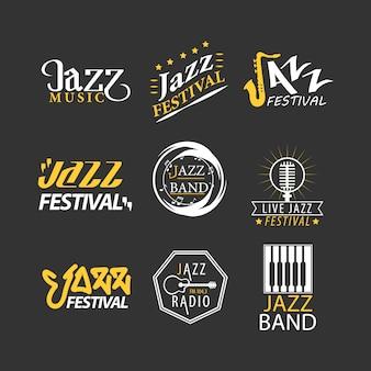 Jazzfestivallogos eingestellt lokalisiert auf schwarzem hintergrund.