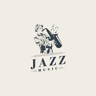 Jazzmusiker, die saxophonlogoschablone spielen