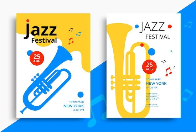 Jazzmusikfestivalplakatdesignschablone mit trompete. illustrationsflyer für jazzkonzert.