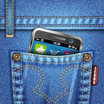 Jeans-beschaffenheit mit smartphone