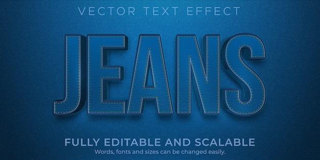 Jeans-denim-texteffekt, bearbeitbares blau und modestil