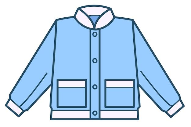 Jeanshemd oder jacke für jungen, isolierte ikone stilvoller kleidung für kinder. shop mit modischen und trendigen outfits. trägt einen entzückenden anzug mit tasche und knöpfen. textiloberteil, vektor in flach