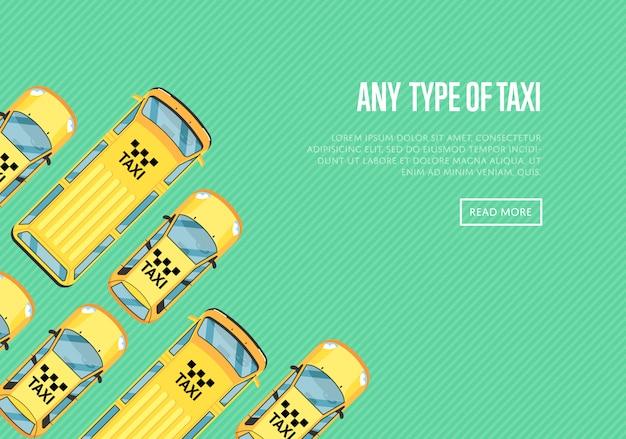 Jede art von taxi banner mit gelben taxis