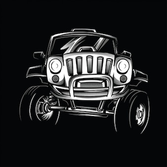 Jeep race schwarzweiß-illustration