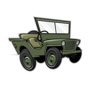 Jeep weg von der straßen-vektor-illustration