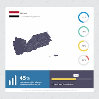 Jemen karte & flagge infografik vorlage
