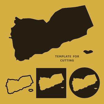 Jemen-karte vorlage zum laserschneiden, holzschnitzen, scherenschnitt. silhouetten zum schneiden. jemen kartenvektorschablone.
