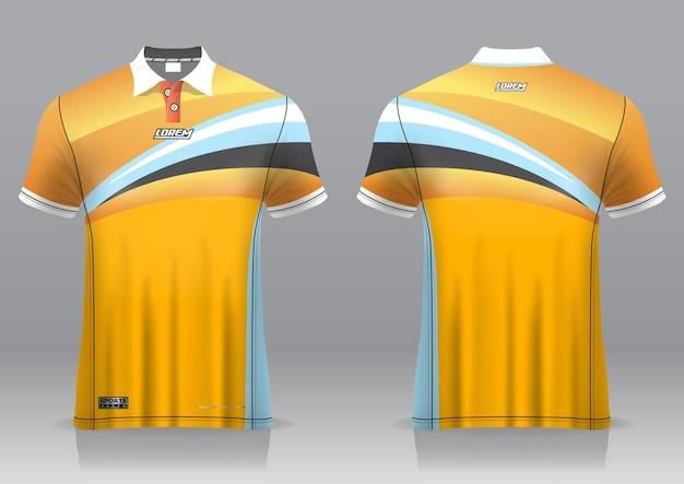 Jersey golf, vorder- und rückansicht, sportliches design und fertig zum bedrucken auf stoff und texlite Premium Vektoren