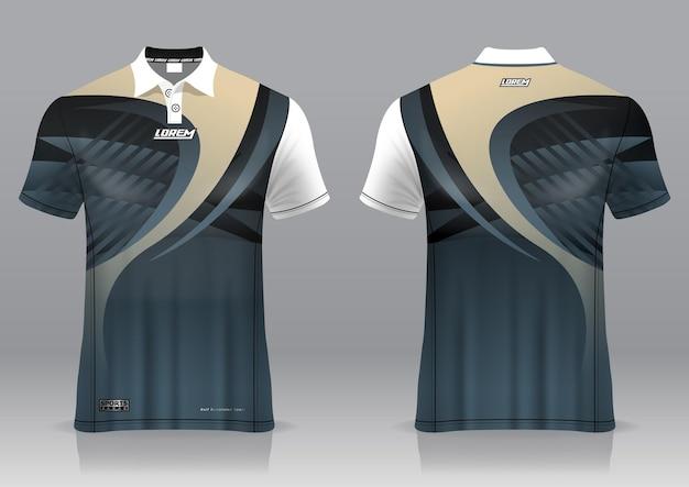 Jersey golf, vorder- und rückansicht, sportliches design und fertig zum bedrucken auf stoff und texlite