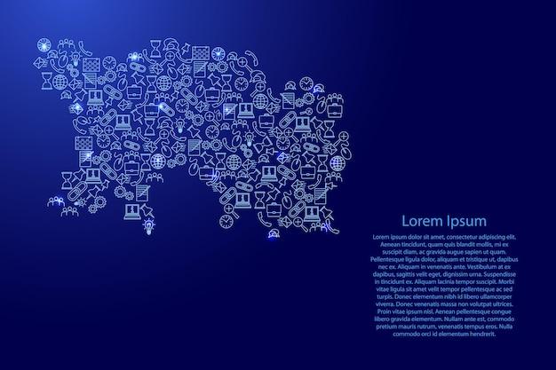 Jersey-karte aus blauen und leuchtenden sternensymbolen mustersatz von seo-analysekonzept oder -entwicklung, geschäft. vektor-illustration.