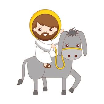 Jesus auf der eselkarikatur lokalisiert über weißem hintergrund. vektor-illustration