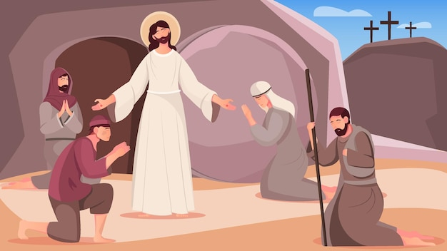 Jesus-auferstehung und menschen in der nähe der flachen illustration des grabhöhlenausgangs