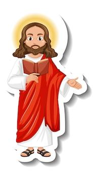 Jesus christus-cartoon-charakter-aufkleber auf weißem hintergrund