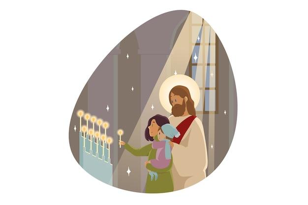 Jesus christus, der sohn des propheten des messias, steht bei der jungen mutter