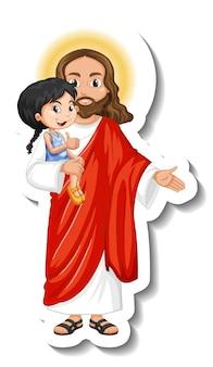 Jesus christus hält einen kinderaufkleber auf weißem hintergrund