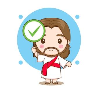 Jesus christus mit dem rechten zeichensymbol chibi-cartoon-charakterillustration