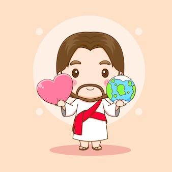 Jesus christus mit der erde und liebesherz-chibi-cartoon-charakterillustration