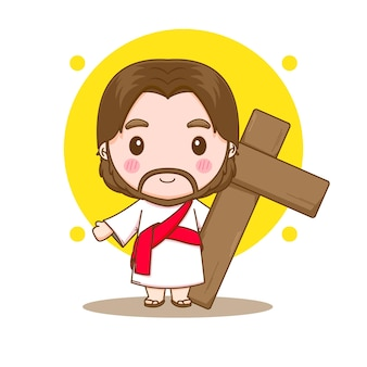Jesus christus mit der kreuz-chibi-cartoon-charakterillustration