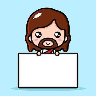 Jesus christus mit einer leeren texttafel