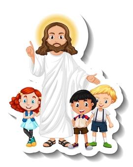 Jesus christus mit kindergruppenaufkleber auf weißem hintergrund