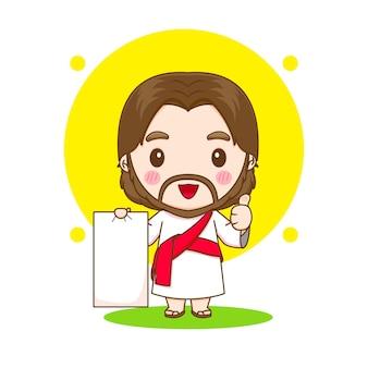 Jesus christus mit leerem papier, das daumen hoch chibi-cartoon-charakterillustration aufwirft