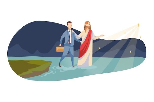 Jesus christus, sohn des messias gottes, der jungen glücklichen geschäftsmann führt, der auf wasser zum leuchtenden stern geht.