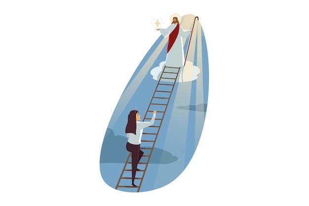 Jesus christus sohn gottes messias führt junge glückliche geschäftsfrau, die auf leiter klettert
