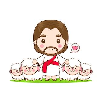 Jesus christus und die schaf-chibi-cartoon-charakterillustration