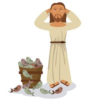 Jesus christus wunder multiplikation fisch symbol