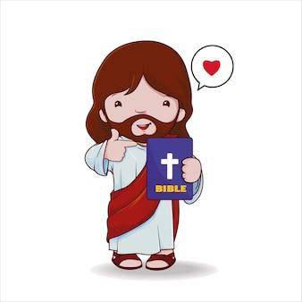 Jesus hält bibel