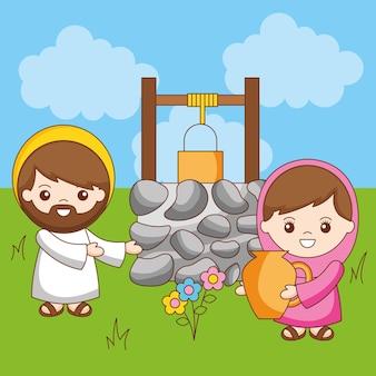 Jesus mit der samariterin im brunnen, karikaturillustration
