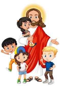 Jesus mit einer kindergruppen-zeichentrickfigur