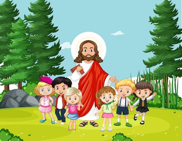 Jesus mit kindern im park