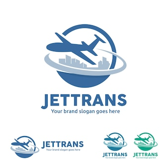 Jet aircraft mit globe und city skyline symbol für reisebüro, reiseveranstalter, flugticket agentur, luftverkehr business.