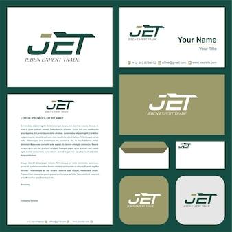 Jet-logo und visitenkarte premium-vektor