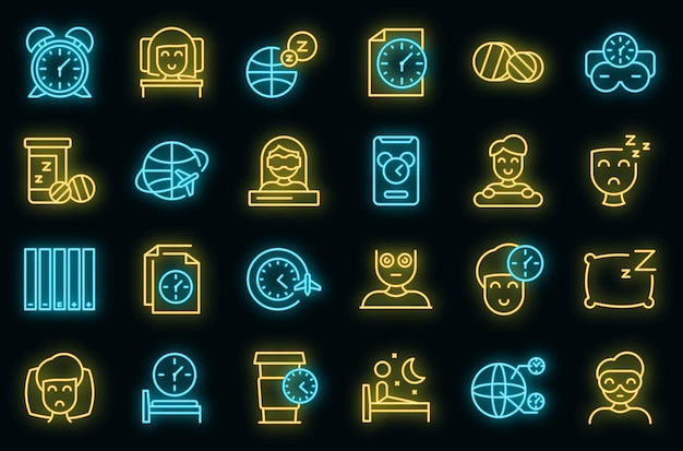 Jetlag icons set vektor neon