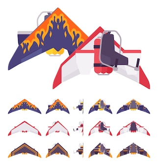 Jetpack mit flügeln und dekoration