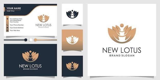 Jetzt lotus-logo mit modernem farbverlauf und visitenkartenvorlage