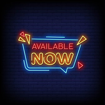 Jetzt verfügbar neon signs style text
