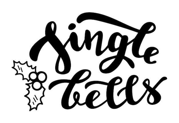Jingle bells mit mistelgekritzel wintersaison zitat hand schriftzug