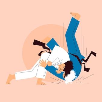 Jiu-jitsu-athleten kämpfen