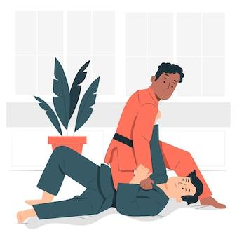 Jiu jitsu konzept illustration