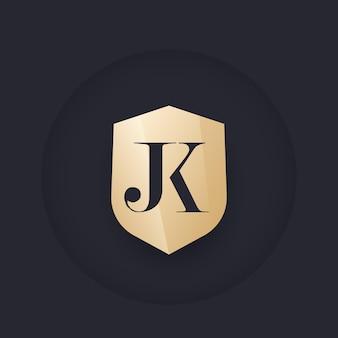 Jk-monogramm mit schild, vektorlogo