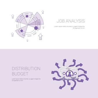 Job analysis und budget distribution-konzept-schablonen-netz-fahne mit kopien-raum