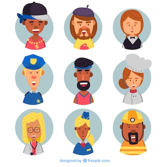 Job-avatar-kollektion mit schönem stil